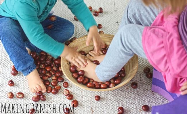 Conkers fun sensory foot bath play