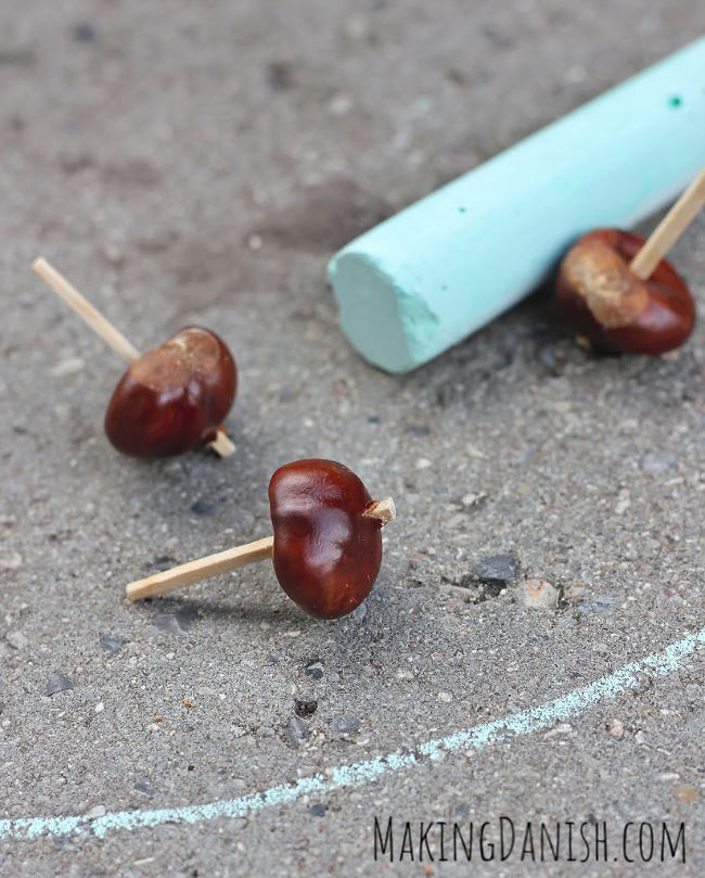 conkers spinning tops diy play idea